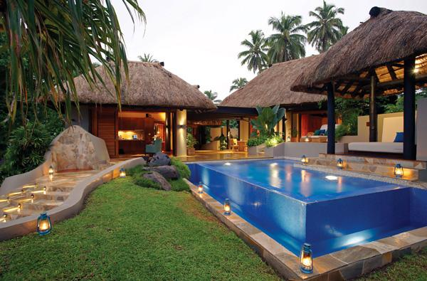 Exterior of the award-winning villa at Jean-Michel Cousteau Fiji Resort.