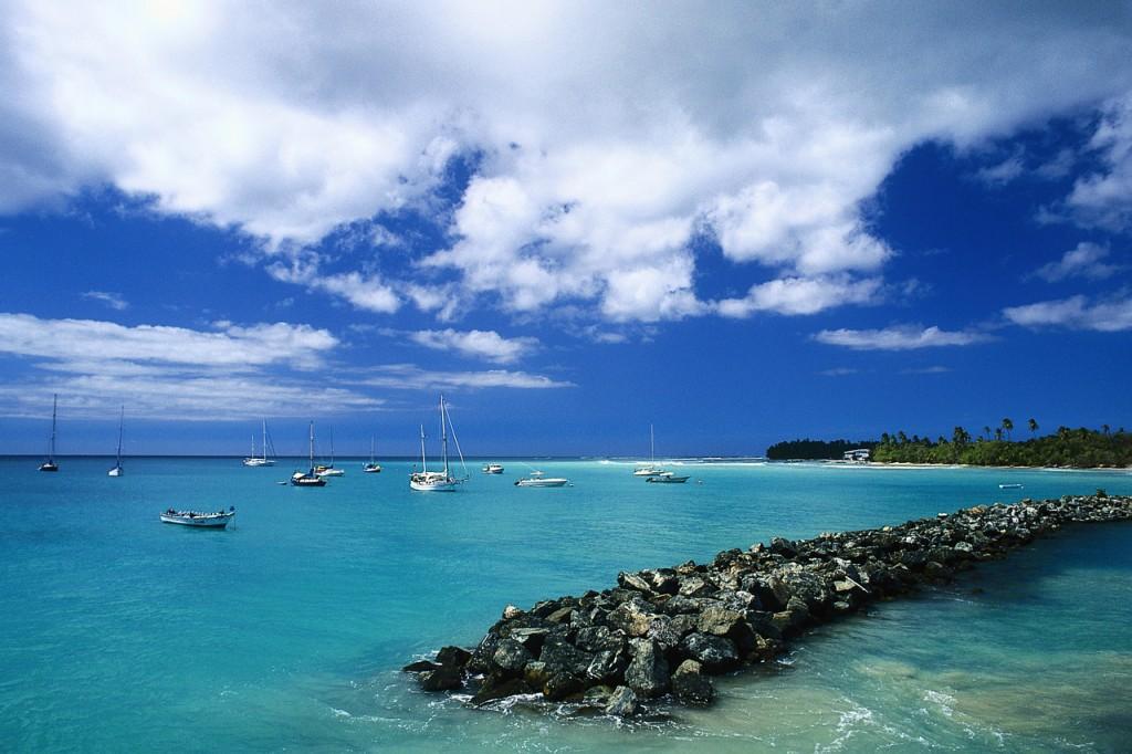 Boats and Seawall Along Tobago
